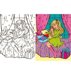 Colouring Book Of Girl Unpacks Gifts vector