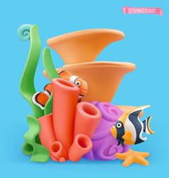 Coral reef and fish 3d cartoon plasticine art vector
