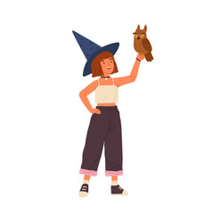 Cute little wizard holding magical owl flat vector