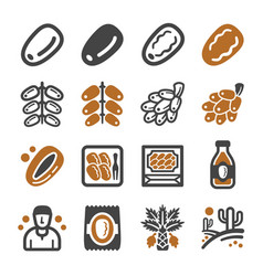date palm icon set vector image