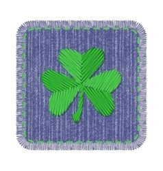 Denim patch with shamrock vector
