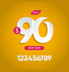 Discount 90 only limited time only shop now vector