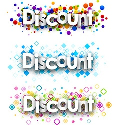 Discount colour banners vector