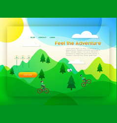 Eco friendly city tourism landing page template vector