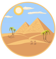 egyptian pyramids in a circle frame vector image