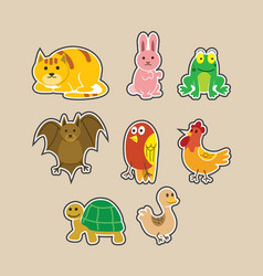 flat cute animal sticker collection vector image