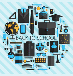Flat design concept of school and equipment vector