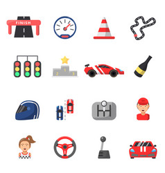 flat icon set of formula 1 cars and racing symbols vector image