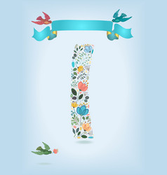 floral letter i with blue ribbon and three doves vector image