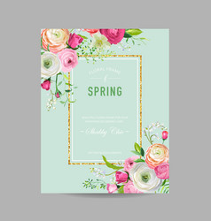 Floral spring design template with golden frame vector