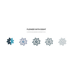 Flower with eight petals icon in different style vector