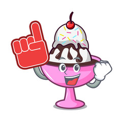 Foam finger ice cream sundae mascot cartoon vector