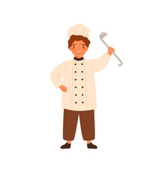 funny chief cook little boy holding ladle vector image