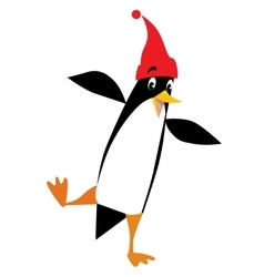 Funny penguin in beanie with pompom vector