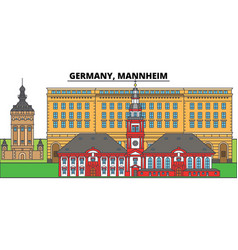 Germany mannheim city skyline architecture vector