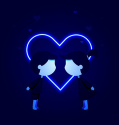 girl and boy kissing in front of neon heart vector image