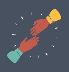 giving each other their hands help greeting try vector image