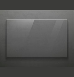 Glass transparent blank plate on gray metal vector
