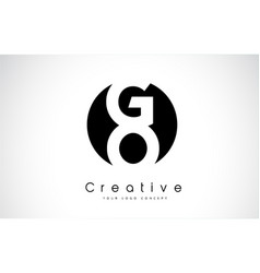go letter logo design inside a black circle vector image