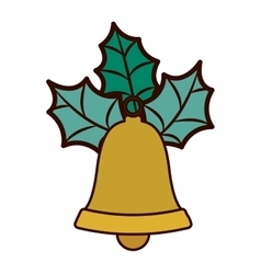 Golden bell with christmas leaves vector