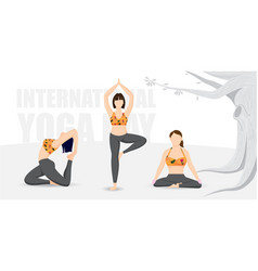 Group girls practicing yoga on 21 june vector