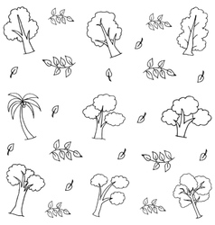 Hand draw various tree on doodles vector