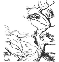 hand drawn landscape with tree and hills page of vector image