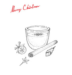 Hand drawn sketch of eggnog or egg milk punch vector