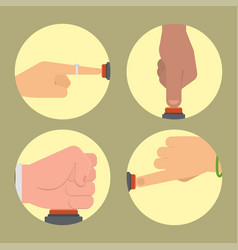 hand press red button finger control start vector image
