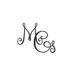 Handwritten monogram mg icon vector