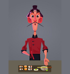 happy smiling japanese sushi chef vector image