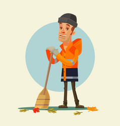 Happy smiling yardman character sweeping leaves vector
