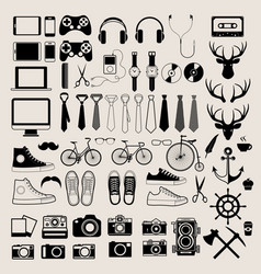 Hipster style infographics elements and icons set vector image