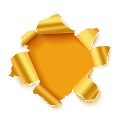 Hole in white paper with gold torn sides vector