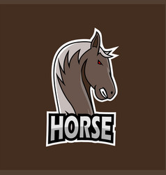 horse e-sports logo template vector image
