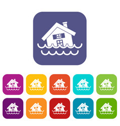 House sinking in a water icons set vector