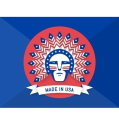 icon of american man with indian chief feathers vector image