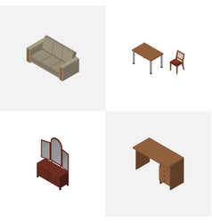 Isometric furnishing set of couch table drawer vector