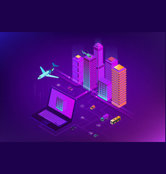 isometric modern city concept website template vector image