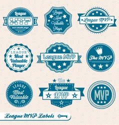 League mvp labels and icons vector