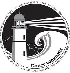 Lighthouse poster labelBlack graphic image for vector