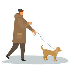 Man with cup coffee walking with dog on leash vector