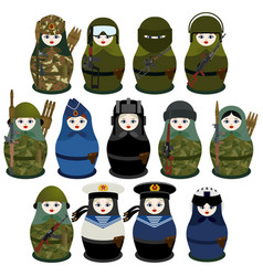 Matryoshka soldiers vector
