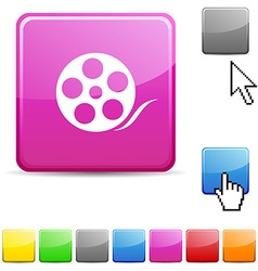 Media glossy button vector
