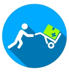 Medical Shopping Flat Round Icon with Long Shadow vector image