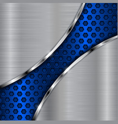 metal background with blue diagonal perforation vector image