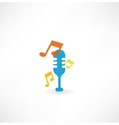 microphone with notes icon vector image