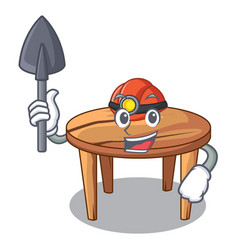 miner cartoon wooden dining table in kitchen vector image