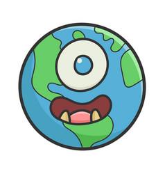 Monster smiling planet earth cartoon vector