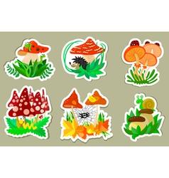 Mushrooms stickers vector